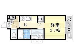京阪本線 森小路駅 徒歩4分の賃貸アパート 1階1Kの間取り