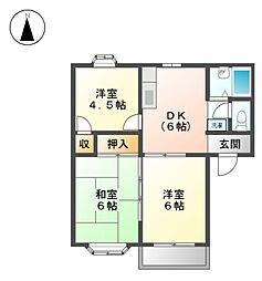 ビラ花水木A棟[2階]の間取り