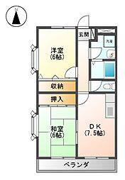 愛知県名古屋市北区東味鋺1丁目の賃貸マンションの間取り