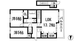 兵庫県伊丹市大野1丁目の賃貸アパートの間取り