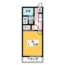 ミノタハイツ出川III 3階1Kの間取り