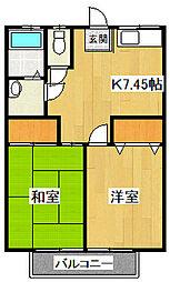 シャルム中村VI[202号室]の間取り
