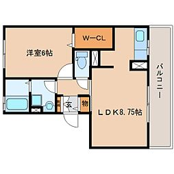 静岡県静岡市清水区長崎の賃貸アパートの間取り