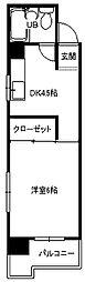 小倉第二鳳城ビル[501号室]の間取り