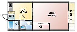 エクセル今里マンション[4階]の間取り