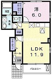 内尾シンフォニー[1階]の間取り