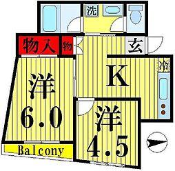 足立ガーデンコート[3階]の間取り
