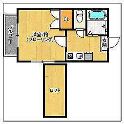 カナディアンハイツ室見(サービス家電有り)[102号室]の間取り