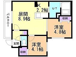 札幌市営南北線 澄川駅 徒歩7分の賃貸マンション 3階2LDKの間取り
