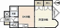 ホウライツルハウスII 3階1DKの間取り