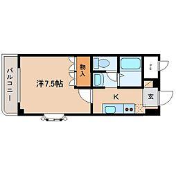 近鉄大阪線 大和八木駅 バス8分 五井下車 徒歩2分の賃貸マンション 2階1Kの間取り
