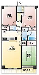 レクセルマンション鶴ヶ島[2階]の間取り