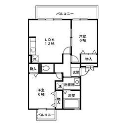 神奈川県秦野市新町の賃貸アパートの間取り