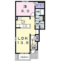 福岡県北九州市八幡西区野面1丁目の賃貸アパートの間取り