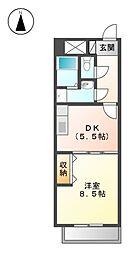 愛知県名古屋市北区八龍町1丁目の賃貸マンションの間取り