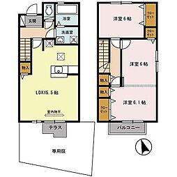 兵庫県三木市緑が丘町東4丁目の賃貸アパートの間取り