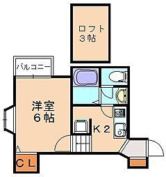 福岡県福岡市南区大楠1丁目の賃貸アパートの間取り