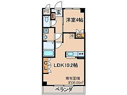 近鉄京都線 大久保駅 徒歩36分の賃貸マンション 2階1LDKの間取り