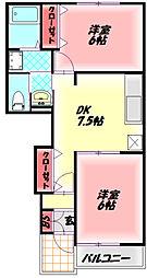 京阪本線 門真市駅 徒歩15分の賃貸アパート 1階2DKの間取り