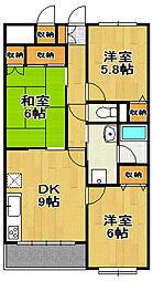 千葉県流山市西初石5丁目の賃貸マンションの間取り