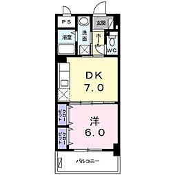 エグザ・ウムサ 1階1DKの間取り