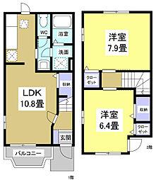 [タウンハウス] 静岡県袋井市葵町3丁目 の賃貸【/】の間取り