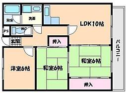 ADUKO一条池[3階]の間取り