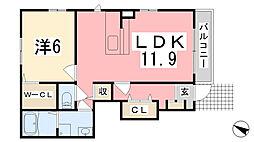 グランデール興浜II[104号室]の間取り