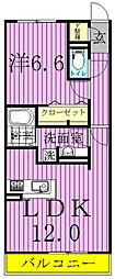 千葉県柏市ひばりが丘の賃貸アパートの間取り