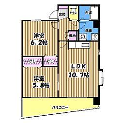 東京都昭島市玉川町3丁目の賃貸マンションの間取り