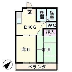 コーポオクムラ[2階]の間取り