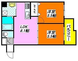 グランガーデン・足代新町 705号室[7階]の間取り