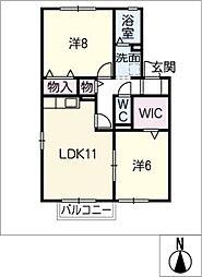 アンシャンテA棟[2階]の間取り