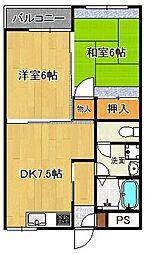 奈良県桜井市金屋の賃貸マンションの間取り