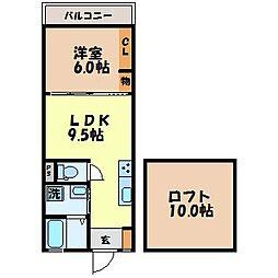 ハイツタカシマ町名 2階1LDKの間取り