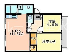 兵庫県小野市垂井町の賃貸アパートの間取り