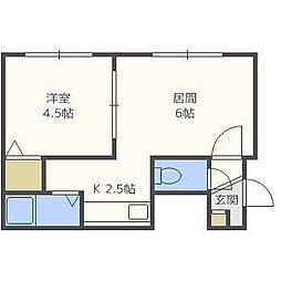北海道札幌市白石区平和通6丁目南の賃貸アパートの間取り