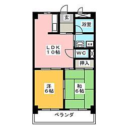 ニューユウチク[6階]の間取り