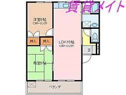 三重県伊勢市中須町の賃貸アパートの間取り