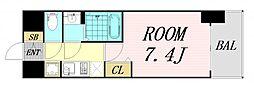 ファステート難波グランプリ 5階1Kの間取り