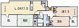八尾南ハウスB棟[1階]の間取り