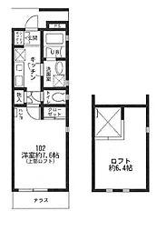 神奈川県川崎市多摩区枡形3丁目の賃貸アパートの間取り