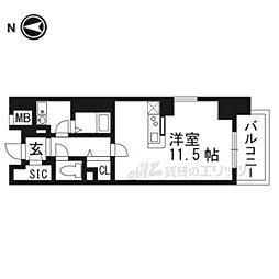 JR東海道・山陽本線 高槻駅 徒歩2分の賃貸マンション 5階1Kの間取り