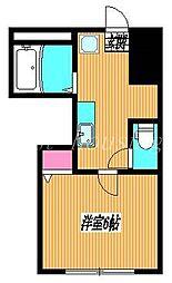 JR総武線 吉祥寺駅 徒歩19分の賃貸アパート 1階1Kの間取り