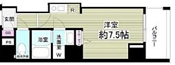 東京メトロ東西線 門前仲町駅 徒歩5分の賃貸マンション 6階ワンルームの間取り