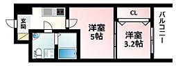 Osaka Metro御堂筋線 江坂駅 徒歩7分の賃貸マンション 6階2Kの間取り