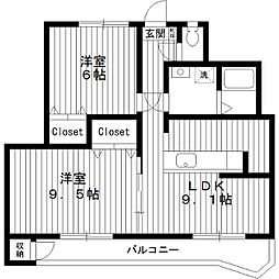 東京都練馬区平和台1丁目の賃貸マンションの間取り