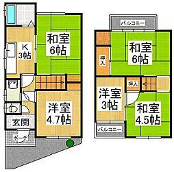南海高野線 北野田駅 徒歩14分の賃貸一戸建て 1階5Kの間取り