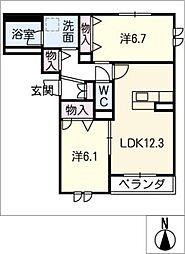 仮)シャーメゾン平安 2階2LDKの間取り