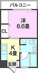 バス 志真志下車 徒歩10分の賃貸マンション 4階1Kの間取り